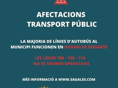 Afectacions en les línies de transport públic