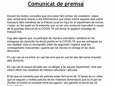 COMUNICAT POLICIA LOCAL DE SANT FRUITÓS DE BAGES