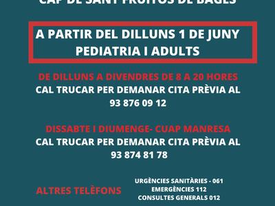 El CAP de Sant Fruitós de Bages reobre l'atenció presencial a partir del proper dilluns 1 de juny
