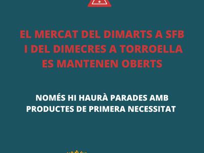 El mercat del dimarts i el del dimecres a Torroella de Baix continuen operatius