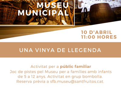 """El Museu de la Vinya i el Vi programa el joc de pistes familiar """"Una vinya de llegenda"""""""