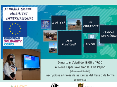 El Nexe Espai Jove ofereix una xerrada sobre mobilitat internacional per a joves, de la mà d'una voluntària europea