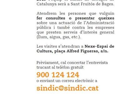 El Síndic de Greuges atendrà als ciutadans a Sant Fruitós de Bages