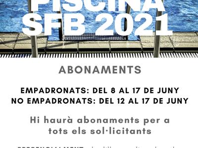 Els abonaments de temporada per a les piscines municipals es podran realitzar a partir d'aquest dimarts 8 de juny NOMÉS presencialment