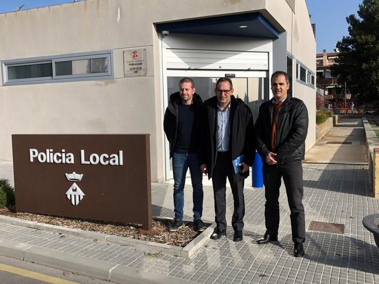 D'esquerra a dreta: Nil López, alcalde de Matadepera, Joan Carles Batanés, alcalde de Sant Fruitós de Bages i Marcel·lí Bosch, regidor de l'àrea de gestió del territori de l'Ajuntament de Matadepera
