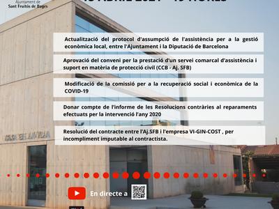 Els plens municipals es podran seguir en vídeo en directe a través de YouTube