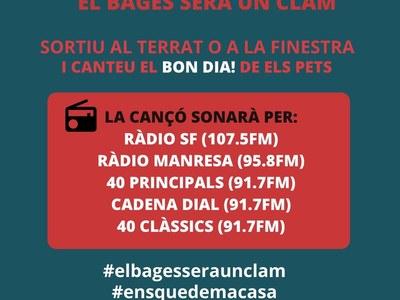 L'Ajuntament de Sant Fruitós de Bages anima als veïns a participar de l'acció EL BAGES SERÀ UN CLAM, programada per aquest dijous 9 d'abril