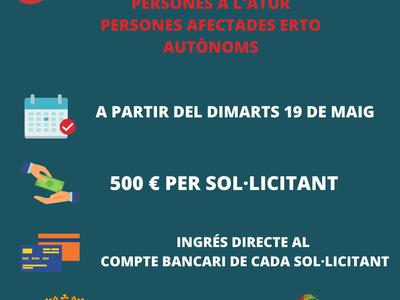L'Ajuntament de Sant Fruitós de Bages ingressarà a partir del proper dimarts els ajuts econòmics per a persones a l'atur, afectades per ERTO i autònoms
