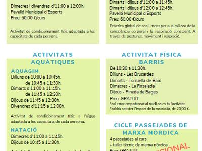 L'Ajuntament de Sant Fruitós de Bages manté les propostes d'activitat física per a la gent gran extremant les mesures de prevenció