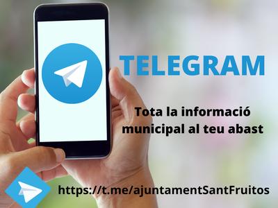 L'Ajuntament de Sant Fruitós de Bages obre un canal de Telegram per oferir una nova via d'informació per a la ciutadania
