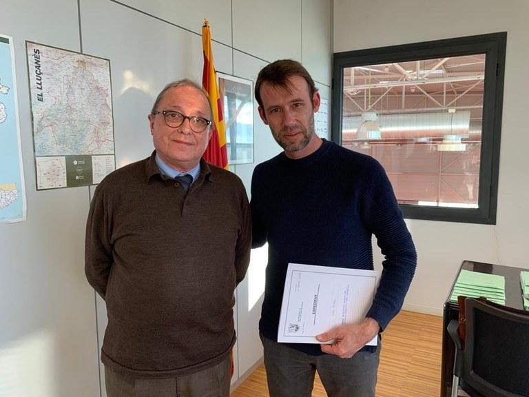 D'esquerra a dreta: Director dels Serveis Territorials del DARP a la Catalunya Central, Ramón Lluis Lletjós i el regidor de Món Rural de l'Ajuntament de Sant Fruitós de Bages, Cristian Marc Huerta
