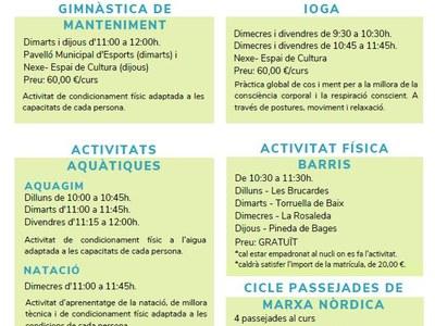 L'Ajuntament programa diverses propostes d'activitat física destinades a la gent gran
