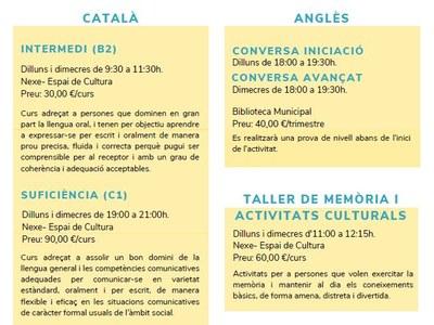 L'Escola d'adults arranca el curs amb propostes de formació de català, anglès i tallers de memòria
