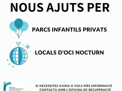 La Generalitat aprova noves ajudes pels propietaris de parcs infantils privats i de locals d'oci nocturn, afectats econòmicament per les mesures de tancament