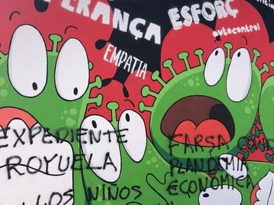La Policia Local identifica la persona autora de les pintades al mural de la plaça Onze de Setembre gràcies a la col·laboració ciutadana