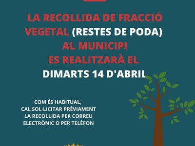 La recollida de restes de fracció vegetal a les urbanitzacions es realitzarà el dimarts 14 d'abril