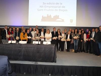 La tercera Nit Empresarial de Sant Fruitós de Bages reconeix la trajectòria d'empreses i comerços del municipi