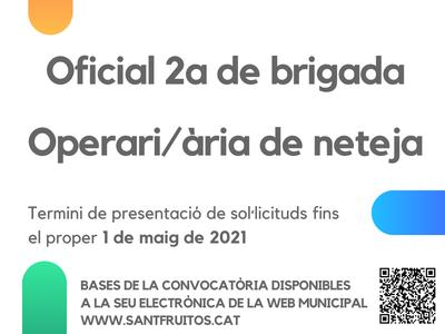 L'Ajuntament contracta personal de neteja i de brigada en el marc els Plans d'Ocupació 2021