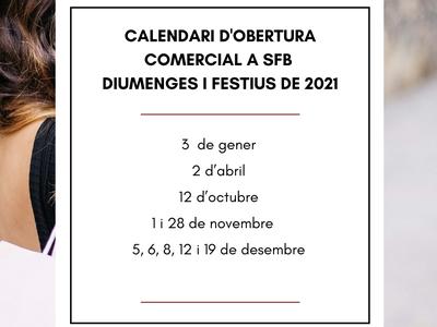 Modificació del calendari oficial d'obertura d'establiments comercials en diumenges i festius per l'any 2021