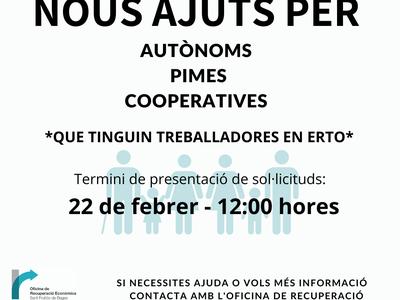 Obert el termini per sol·licitar els ajuts per autònoms, PIMES i cooperatives que tinguin persones treballadores en ERTO