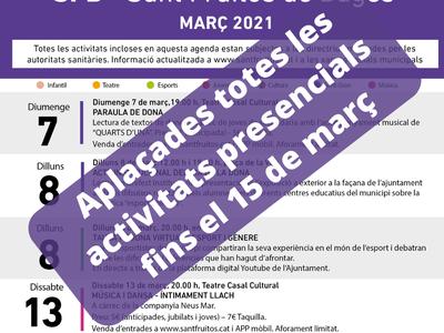 Queden aplaçats tots els actes presencials programats durant la primera quinzena del mes de març a causa de l'augment de casos de Covid-19 al municipi