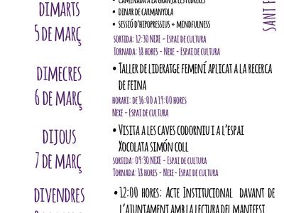 Sant Fruitós de Bages programa una setmana d'activitats per al públic femení