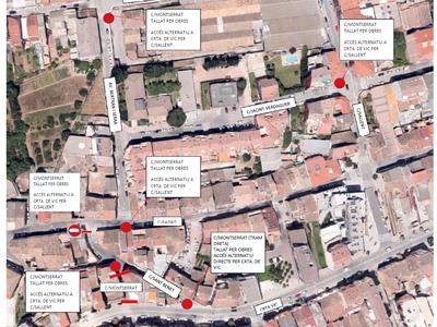 Tall a la circulació al carrer Montserrat entre la carretera de Vic i el carrer Sant Benet