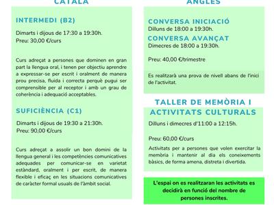 Torna la formació continuada amb propostes de català, anglès i tallers de memòria